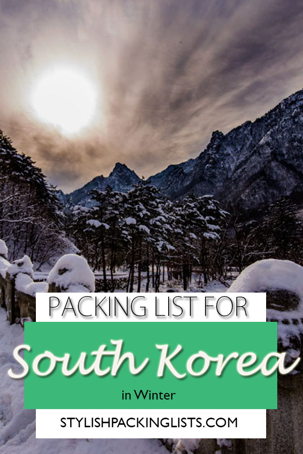"""South korea packing list"", ""What to wear in Korea winter"", ""snow in national park south korea"""